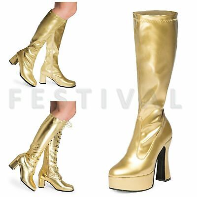 Womens Ladies Mens Gold  Knee High Eyelet Platform Disco Fancy Dress Boots