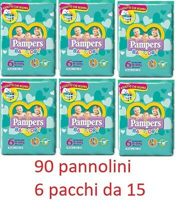 PAMPERS BABY DRY TG.6 EXTRALARGE (15-66.1lbs) 90 DIAPERS (6 STACKS OF 15) SPARE