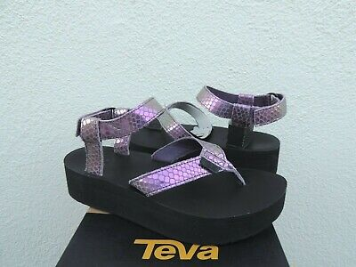 4026ffe53e Teva Flatform Iridescent Plum Leather Platform Sandals, Us 6/ Eur 37 ~ New