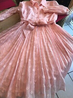 "ab08f13769ba VINTAGE LADIES 1940s 1950s PINK DRESS 32"" WAIST MID CENTURY ORGANDY COLLAR"