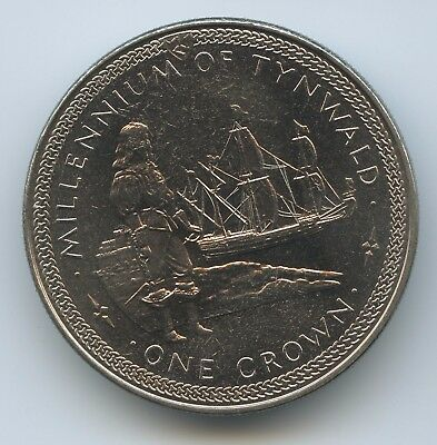 "GS984 - Isle of Man Crown 1979 KM#49 Segelschiff ""Millennium of Tynwald"""