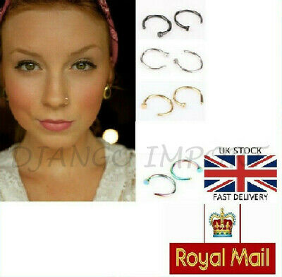 Sterling Silver Thin Small Silver Nose Ring Hoop Piercing Body Jewellery
