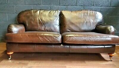 Vintage George Smith Style 3 Seater Leather Sofa On Castors
