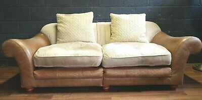 VINTAGE Halo 3 Seater Brown Leather & Fabric  Sofa