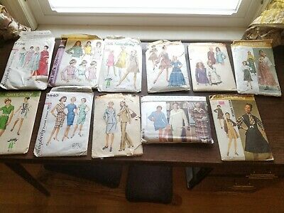 Vintage 1960s 1970s McCall Simplicity Men's Women's Sewing Pattern lot of 11