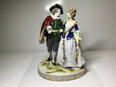 Volkstedt German Dresden Couple Figurine Impressed Latour Marked with Blue R