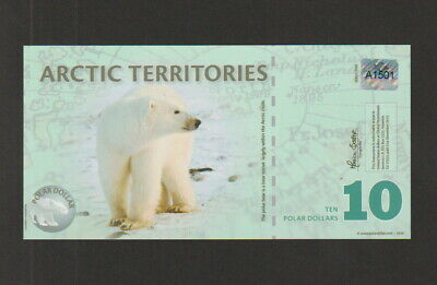 "Arctic Territories,10 Polar Dollars,ND,""Polymer""Uncirculated ""Fantasy Note"""
