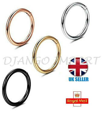 Hinged Segment Ring with Clear Septum Clicker Nipple Nose Hoop Piercing