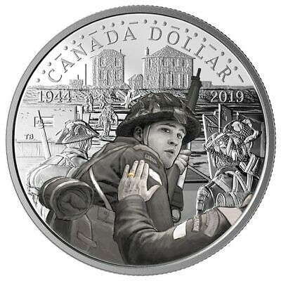 2019 Canada 75th anniv of Dday 99.99% Silver dollar w colour and golden ring