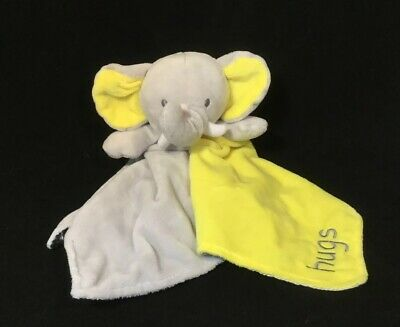 Okie Dokie Elephant Rattle Security Blanket - Yellow Gray Hugs Infant Baby Toy