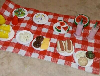 Dollhouse Loose Picnic Set Clay Food Summer Hamburgers Salads Hot Dogs