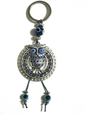 Lucky Owl Key Chain Blue Evil Eye Protection Pendant Charm Gift Amulet NEW