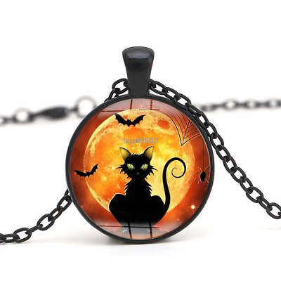 0b014d09a6412b Halloween Flying Witch Cat Owl Cabochon Black Glass Pendant Necklace Jewelry #240