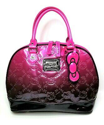 7ca63d333 Loungefly Loves Hello Kitty Embossed Large Satchel Patent Pink Black Handbag