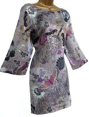 408db1890c Monsoon ✩ Stunning Kai Mai Butterfly / Silver Sequin Silk Tunic Dress ✩ Uk  16