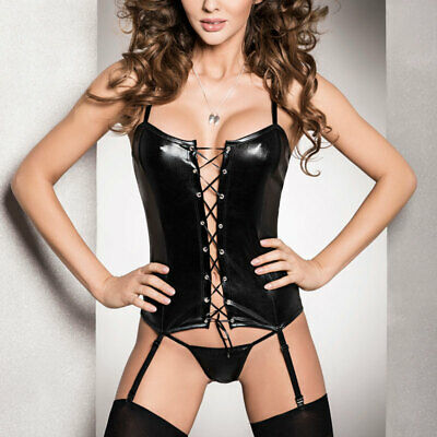 Passion Wet Look Black Corset and Matching Thong, Size S/M, 8-10