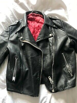 Leather Jacket Biker Punk Ramones Size 14