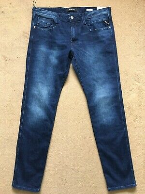 Jeans Replay Man Anbass Slim Trousers Comfort Stretch Deep Blue M914y 93c 262