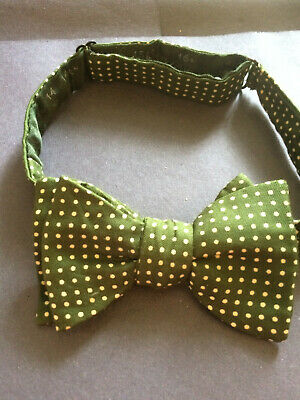 Vintage All Silk green white polka dot pattern mens bow tie made in england
