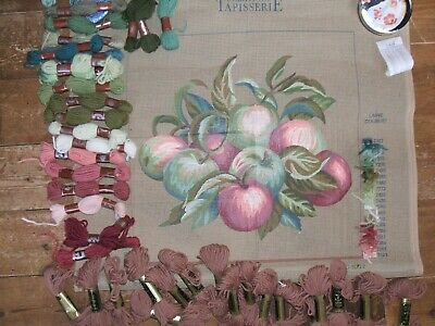 Dmc Printed Tapestry  Canvas Les Pommes And 39 Yarns Kit