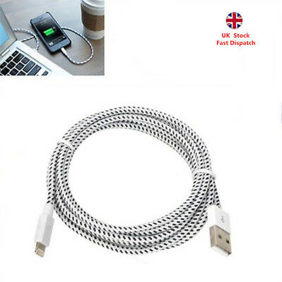 2M/3M Braided Lightning USB Sync Data Charger Cable For iPhone XR XS X 5 6 7 8