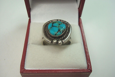 Vintage Classic Fred Harvey Old Kingman Turquoise Sterling Silver Ring Sz-9 1940