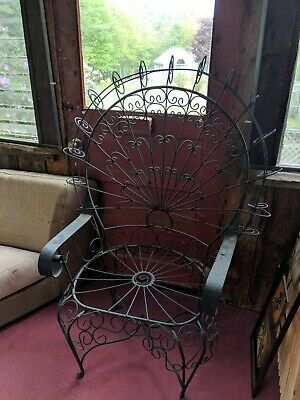 Vintage Wrought Iron Peacock Chair circa 1950's