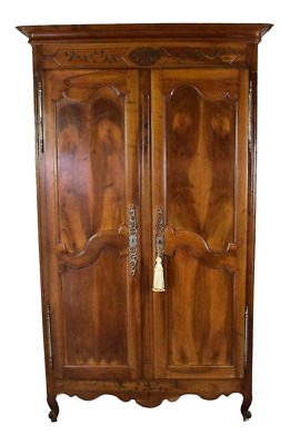 Louis XV Walnut Provincial Armoire TV Cabinet