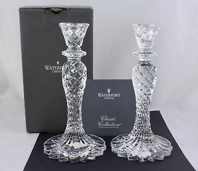 """Pair Of Waterford Crystal Abstract Seahorse 10"""" Signed Candlesticks - New"""