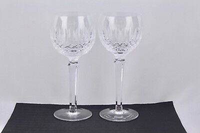 """Waterford Crystal Set Of 2 Colleen 7-1/4"""" Wine Hock Glasses - Mint"""