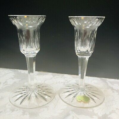 """WATERFORD Ireland 2 Lismore Crystal Candle Holders Set 5 1/2"""" Foil Label Signed"""