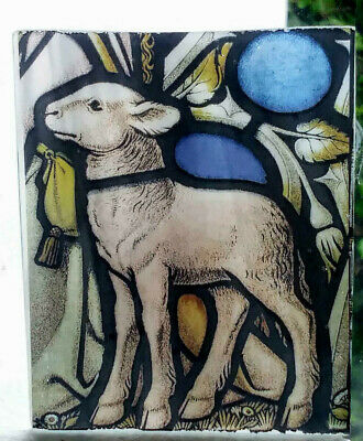 "Stained Glass  ""Lamb""  Kiln fired.transfer piece semi translucent pre-raphaelite"