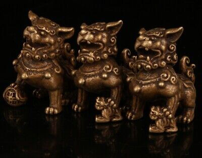 3 Rare Chinese Bronze Hand-Carved Lion Statue Figurine Old Collection