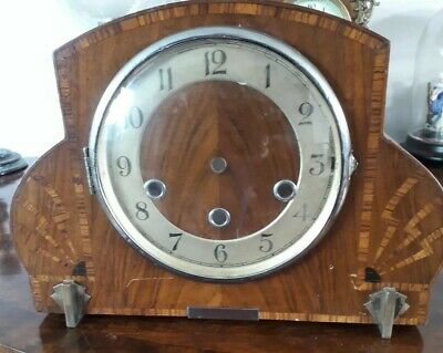 Antique Art Deco inlayed Clock Case spears or repair and Movement