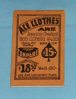 vintage 1941 ACE CLOTHES NOTEPAD CALENDAR  Pittston Pennsylvania PA