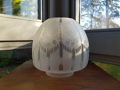 Original Victorian Deep Cut Glass Ribbed Crystal Etched Oil Lamp Shade 4 inch A1