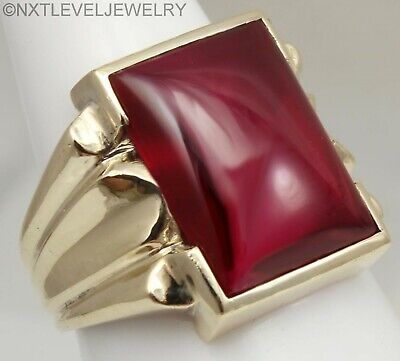 HEAVY 8+ GRAM Antique Art Deco LARGE 12ct Ruby Cabochon 10k Solid Gold Mens Ring