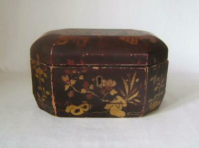 Antique Chinese Black Lacquer Box : Octagonal Tea Caddy: For Restoration