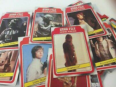 1980 Star Wars Red Trading Star File Cards - Lot of 48