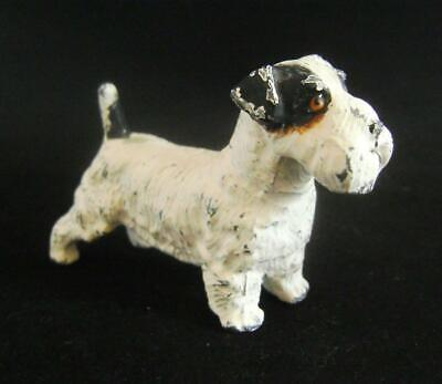 Parson Russell Terrier: Antique Cold Painted Spelter Figure of a Dog  C.1920s