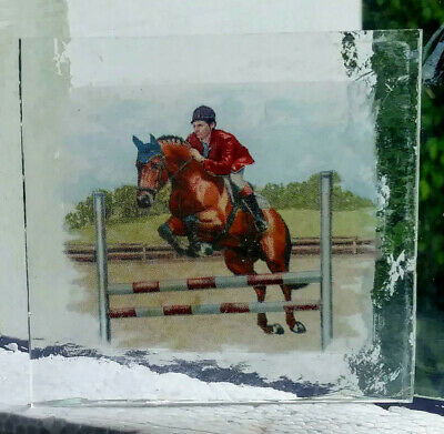 Stained Glass Horse jumping -  Kiln fired transfer fragment pane!