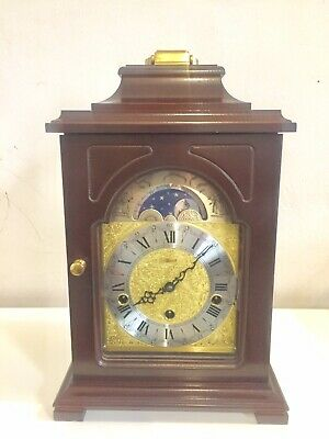 Vintage Tripple Chime Bracket Clock With Moon Phase By Hermle