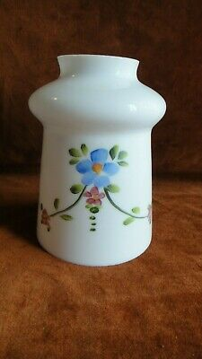 "Antique Floral Garland Opal/Milk Glass Lamp Shade With 2-1/4"" Fitter"