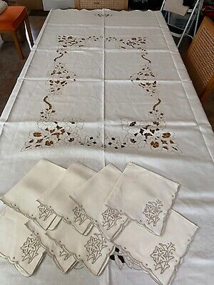 "Vintage Ecru Madeira Embroidered Cutwork Tablecloth 8 Napkins 84"" x 70"""
