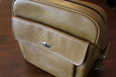 Sears Samsonite Courier Tan Vinyl Carry On Messenger Bag Mod Retro Travel