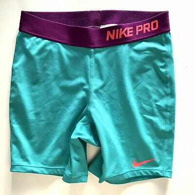 9f89625268 Nike Pro Girls XL Compression Fitted Shorts Workout Turquoise Blue Purple A5