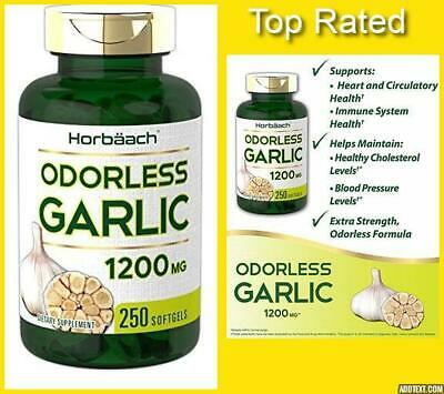 Pure GARLIC EXTRACT Odorless Softgels Ultra Potent 1200mg 250CT by Horbäach