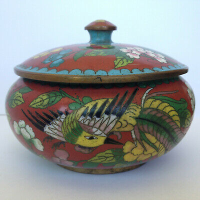 Antique Vintage Chinese Cloisonne Enamel Covered Bowl w Fenghuang Bird & Flowers