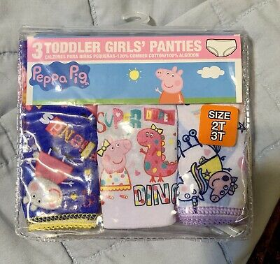 Peppa Pig Underwear Underpants 3 Pair Panty Pk Girls Sz 2T/3T For Toddler NIP