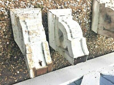 Pair  Antique Wood Architectural Salvage Corbels Chipped White Paint